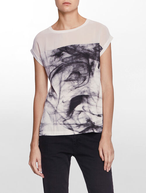 CALVIN KLEIN SHORT SLEEVES SMOKY PRINT TOP