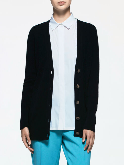 CALVIN KLEIN LUX FINE GAUGE CASHMERE LONG SLEEVES BUTTON UP CARDIGAN