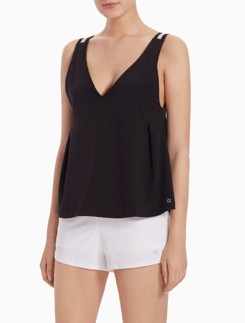 CALVIN KLEIN V NECK TANK TOP WITH STRIPED STRAPS