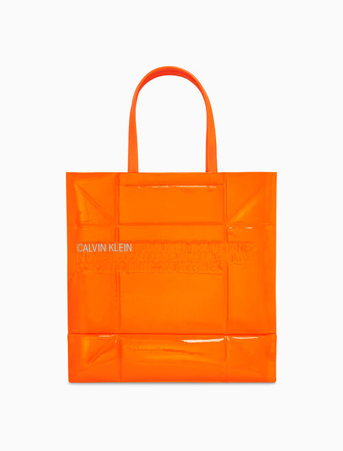 CALVIN KLEIN GEOMETRIC TOTE IN PATENT LEATHER
