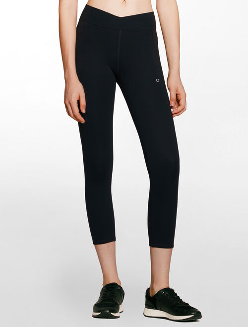 CALVIN KLEIN overlapped design waistband cropped length legging