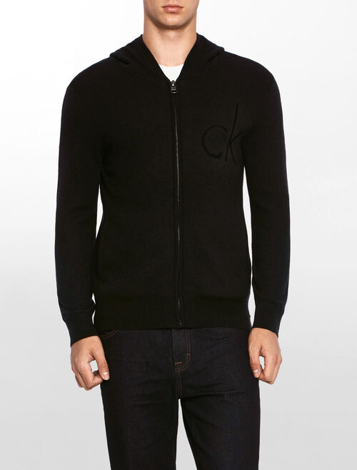 CALVIN KLEIN LOGO ZIP HOODED SWEATER