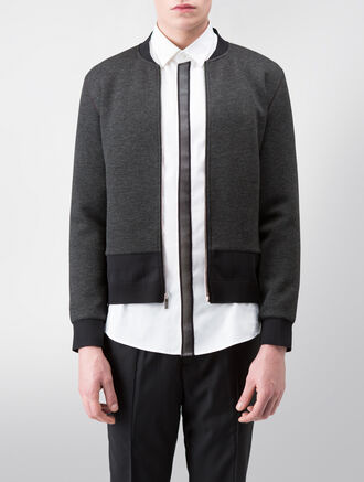 CALVIN KLEIN SCULPTED DOUBLE FACE HEATHER JERSEY LONG SLEEVES ZIP UP JACKET( C-SLIM FIT )