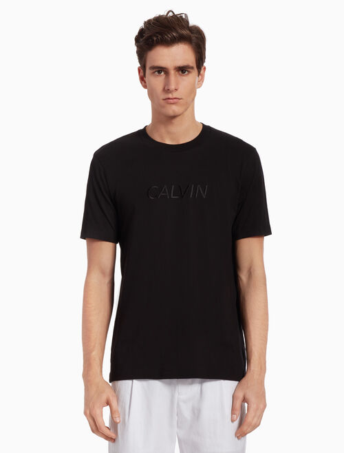 CALVIN KLEIN KNIT TEE WITH LOGO EMBROIDERY