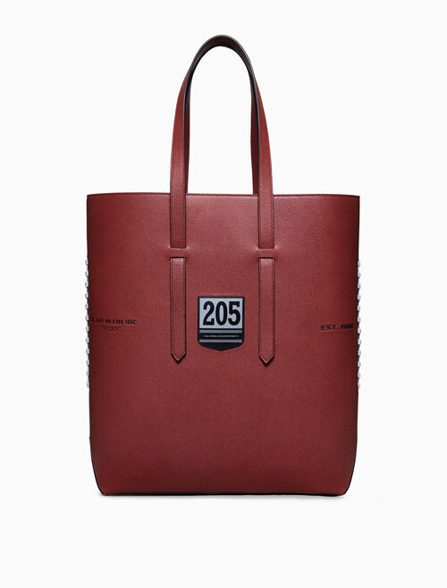CALVIN KLEIN THE CATCH FOOTBALL EMBOSSED LEATHER TOTE