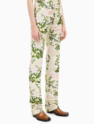 CALVIN KLEIN classic floral brocade straight leg pant