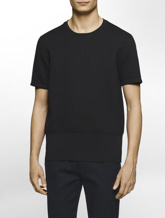 CALVIN KLEIN SCULPTED DOUBLE FACE JERSEY SHORT SLEEVES SWEATSHIRT( D-EASY FIT )