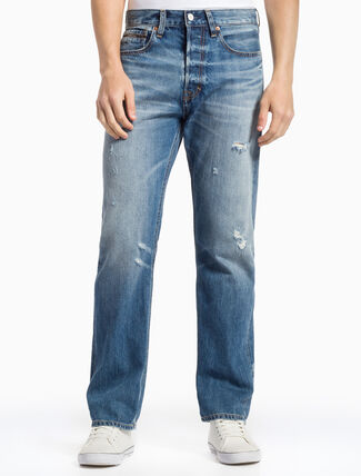CALVIN KLEIN VINTAGE BLUE HIGH STRAIGHT SELVEDGE JEANS
