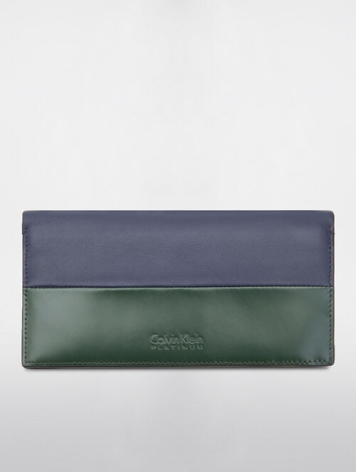CALVIN KLEIN MEN'S CLASSIC WALLETS TWO TONE LONG FLAP WALLET