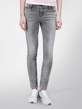 CALVIN KLEIN GREY MID RISE SKINNY JEANS