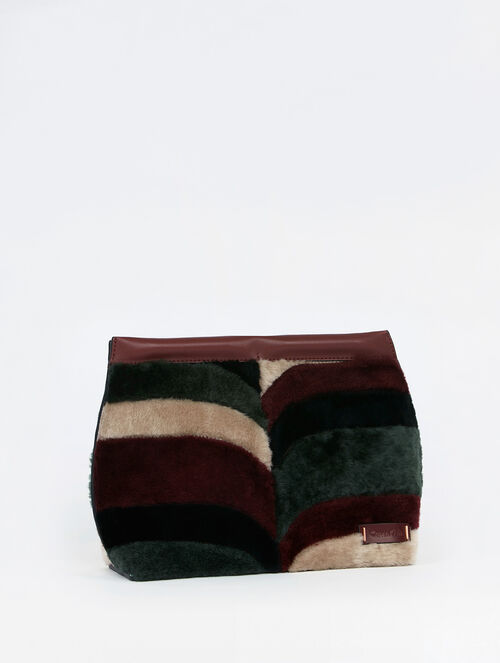 CALVIN KLEIN ZOE CHEVRON SHEARLING CITY CLUTCH