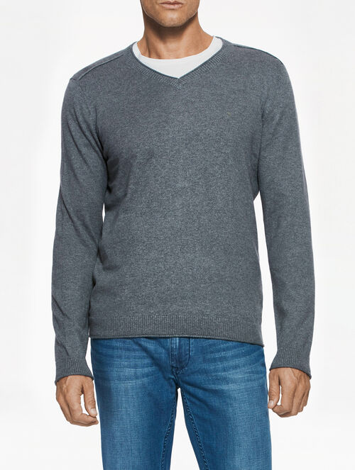 CALVIN KLEIN COTTON CASHMERE V-NECK SWEATER