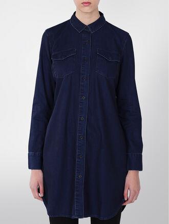 CALVIN KLEIN DENIM SHIRT DRESS - INDUSTRIAL BLUE