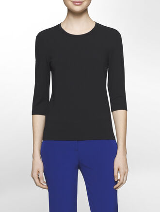 CALVIN KLEIN CREPE JERSEY STRETCH 3/4 SLEEVES CREW NECK TOP