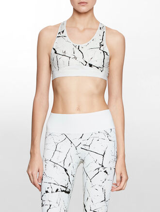 CALVIN KLEIN MESH INSERT ALL OVER PRINT BRA