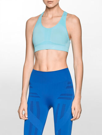 CALVIN KLEIN SEAMLESS BRA TOP WITH REMOVABLE PADS AND JACUARD LOGO AT CENTER BACK