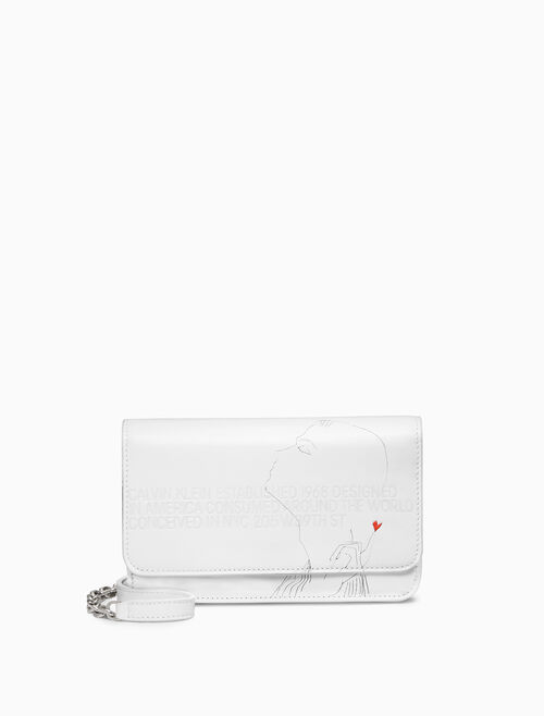 CALVIN KLEIN EMBOSSED FLAP MINI CROSSBODY X ANDY WARHOL IN CALF LEATHER