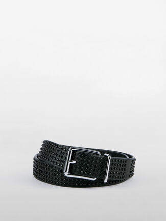 CALVIN KLEIN ROLLER BUCKLE WITH SQUARE RING WITH STUDS