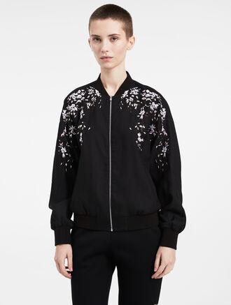 CALVIN KLEIN floral wool silk bomber jacket