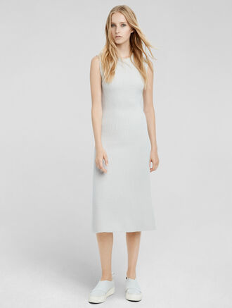 CALVIN KLEIN CASHMERE BOUCLÉ FLARED DRESS