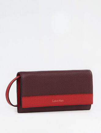 CALVIN KLEIN BICOLOR SOFT LONG FOLD WALLET WITH DETACHABLE STRAP