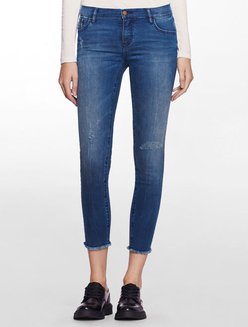 CALVIN KLEIN SPEED BLUE MID-RISE SKINNY JEANS