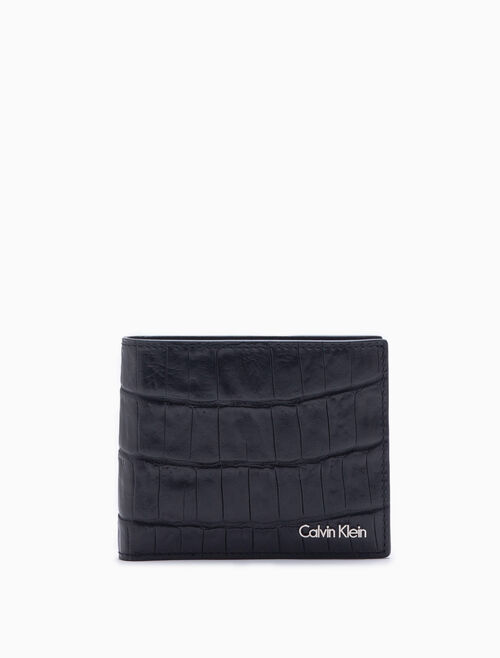 CALVIN KLEIN EMBOSSED CROCO BILLFOLD WALLET WITH CARD CASE