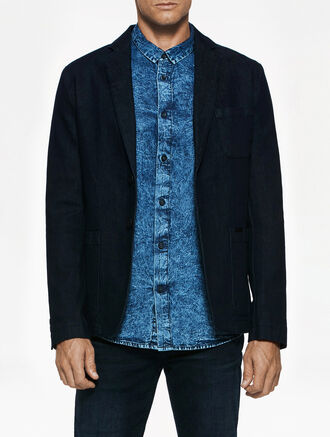CALVIN KLEIN AMPLIFIED INDIGO BENIER DENIM BLAZER