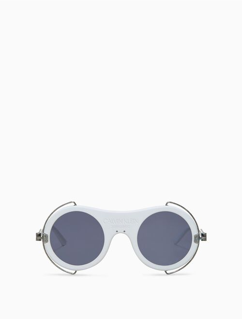 CALVIN KLEIN Round metal trim sunglasses with 205w39nyc logo