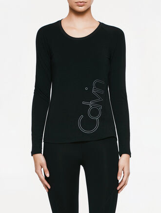CALVIN KLEIN FABRIC MIX LOGO LONG SLEEVES TEE