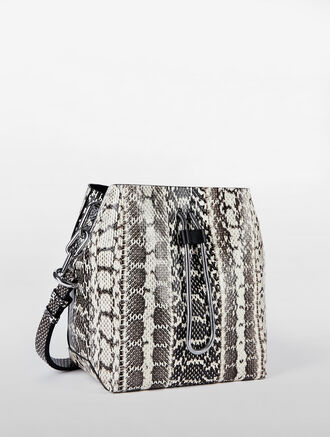CALVIN KLEIN SNAKE LEATHER BUCKET BAG