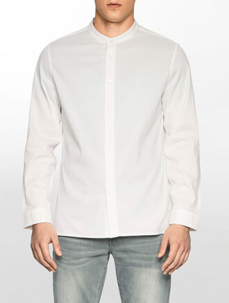 CALVIN KLEIN SHIRT WITH MANDARIN COLLAR
