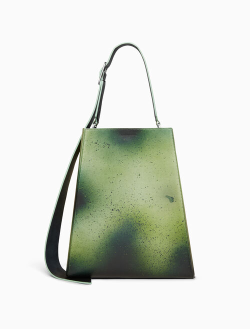 CALVIN KLEIN large distressed leather bucket bag