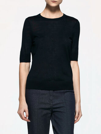 CALVIN KLEIN TUSSAH SILK SHORT SLEEVES BASIC TOP