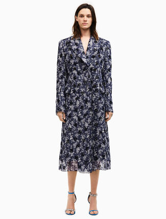 CALVIN KLEIN double breasted floral silk georgette coat