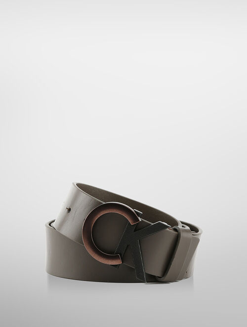 CALVIN KLEIN LOGO BUCKLE LEATHER BELT