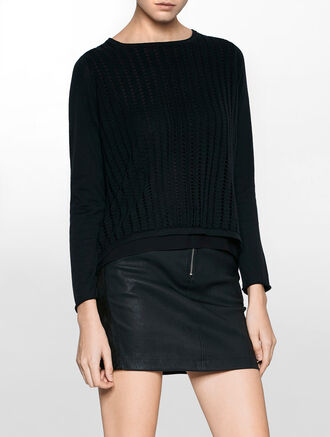 CALVIN KLEIN SHULA MIX CREW NECK LONG SLEEVES SWEATER