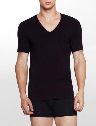 CALVIN KLEIN CK BLACK COTTON Short Sleeves V NECK TEE