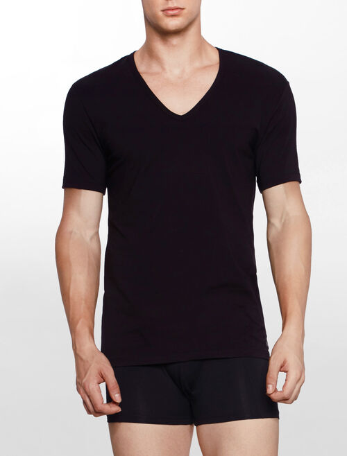 CALVIN KLEIN CK BLACK COTTON 短袖 V 領上衣