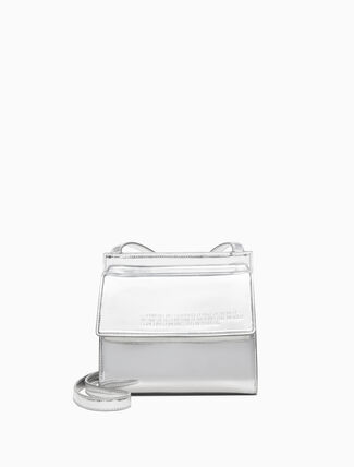 CALVIN KLEIN Embossed Flap Crossbody Bag In Metallic Leather