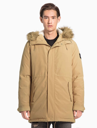 CALVIN KLEIN HOODED COTTON PARKA JACKET