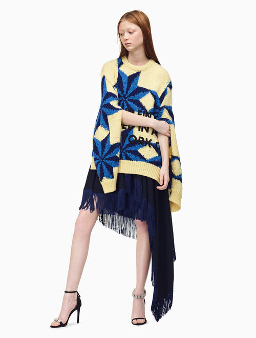 CALVIN KLEIN Flag Fringed Skirt In Wool Twill