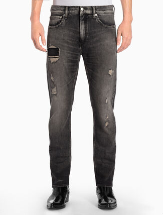 CALVIN KLEIN CKJ 025 MEN SLIM STRAIGHT STALKER BLACK JEANS