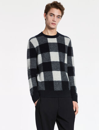 CALVIN KLEIN SUPERSOFT BOILED CASHMERE Long Sleeves CHECK SWEATER
