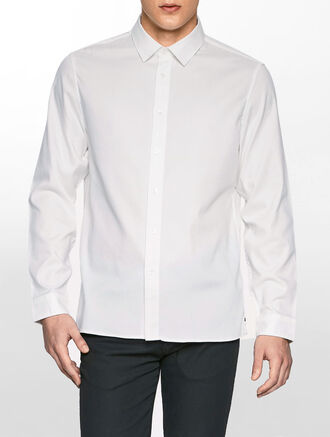 CALVIN KLEIN GARMENT DYED COTTON STRETCH SHIRT