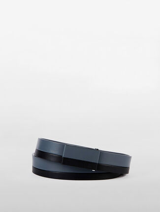 CALVIN KLEIN LEATHER COVERED PLACKET BELT