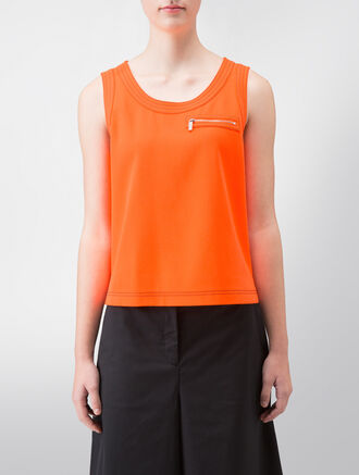 CALVIN KLEIN TWISTED STRETCH SLEEVELESS TOP WITH CONTRAST STITCH