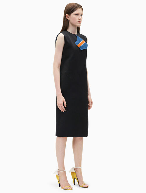 CALVIN KLEIN marching band satin shift dress