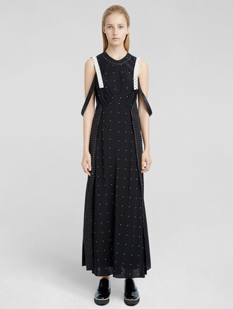CALVIN KLEIN MIXED DOT PRINT DOUBLE LAYER SLIP DRESS