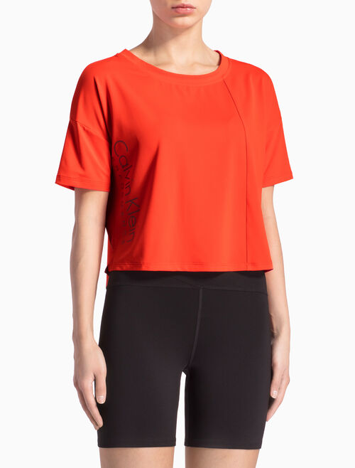 CALVIN KLEIN BOXY CROPPED LOGO TEE WITH SHORT SLEEVES